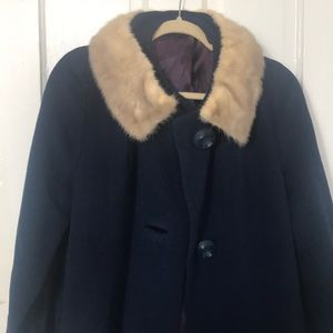 GORGEOUS vintage wool duster coat with rabbit fur